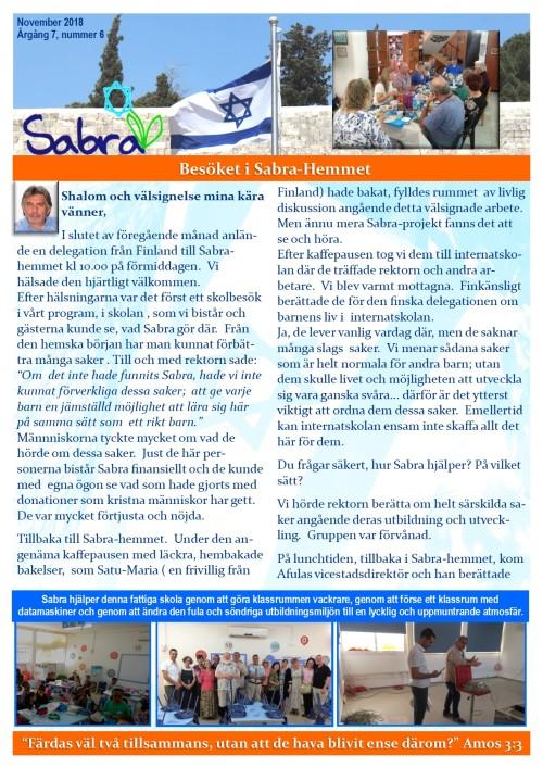 Prayer Letter - November 2018 - Swedish - page 1
