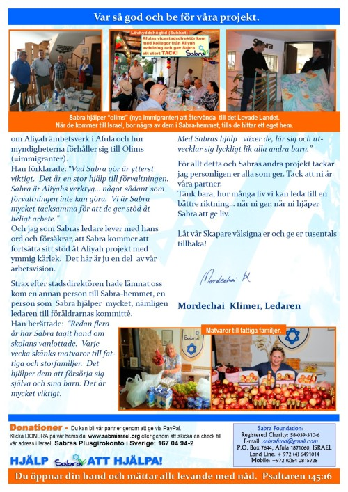 Prayer Letter - November 2018 - Swedish - page 2
